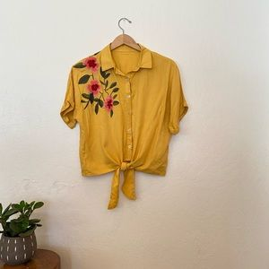 Short sleeve button up floral embroidered blouse